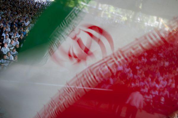 An Iranian flag flutters