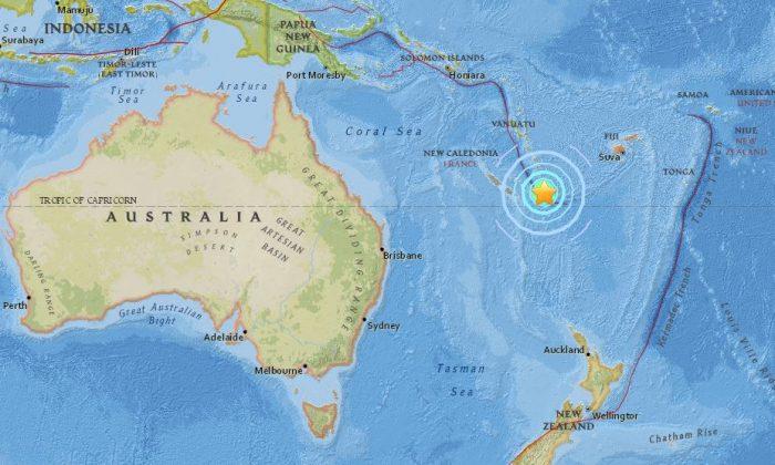 7.1 magnitude earthquake strikes New Caledonia on Aug. 29, 2018. (Screenshot/USGS)