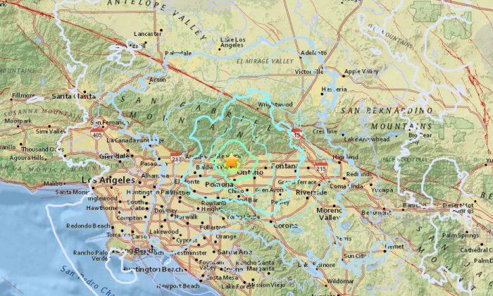 The range of the 4.4 earthquake in La Verne Aug. 28, 2018. (Screenshot/USGS)