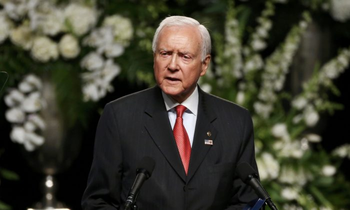 Sen. Orrin Hatch (R-UT) speaks at a memorial service for the late boxer Muhammad Ali n Louisville, Kentucky on June 10, 2016. (Reuters/Lucas Jackson/Picture Supplied by Action Images).