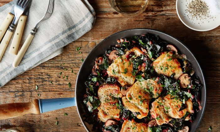 One-pan meals, like chef and author Carla Snyder's Chicken and Swiss Chard in Cider-Cream Sauce, can be a lifesaver on busy weeknights. (Colin Price)