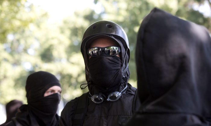 Antifa members in a file photograph. (Natalie Behring/AFP/Getty Images)