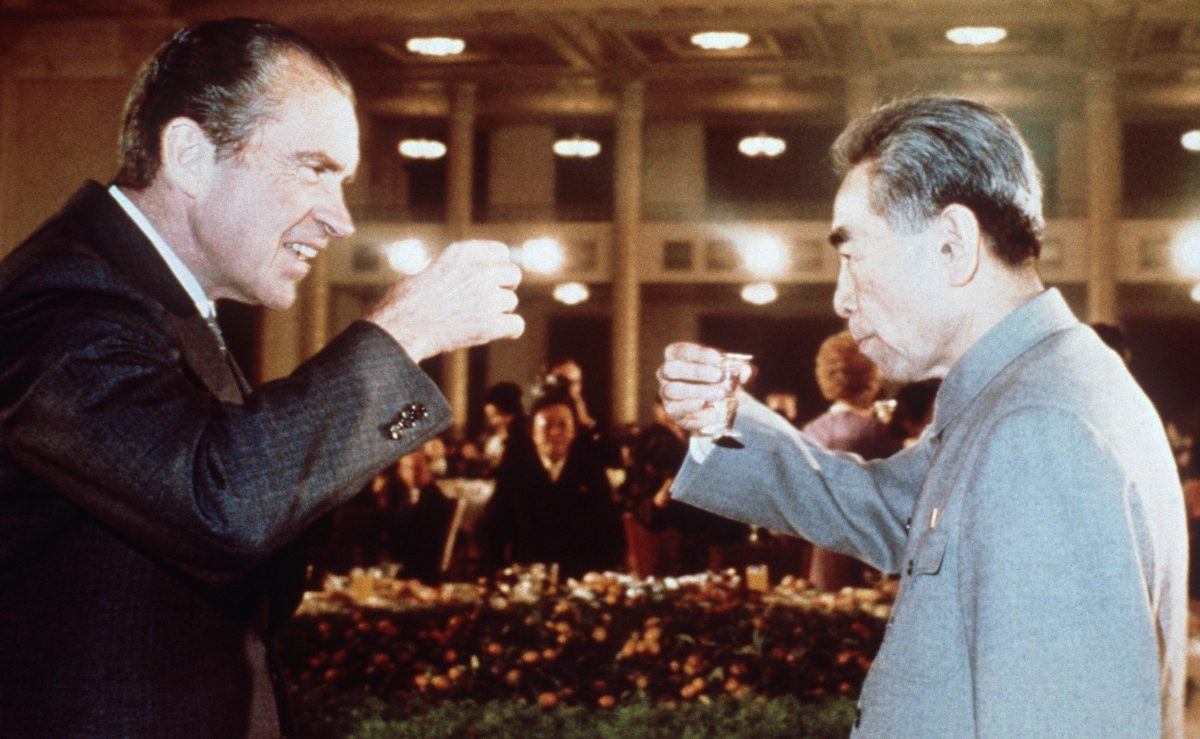 U.S. President Richard Nixon (L) toasts with Chinese Prime Minister Chou En Lai (R) in February 1972 in Beijing during his official visit in China. (AFP/Getty Images)