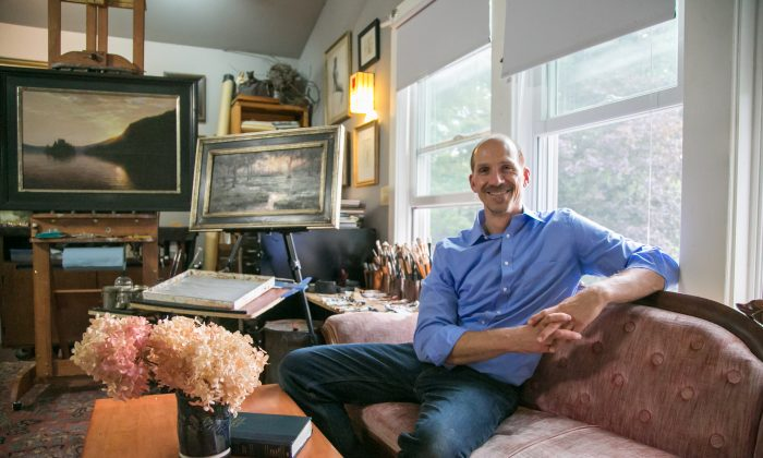 Painter, video producer, and teacher Thomas Kegler talks about his life and work in his studio in East Aurora, New York, on Aug. 17, 2018. (Milene Fernandez/The Epoch Times)