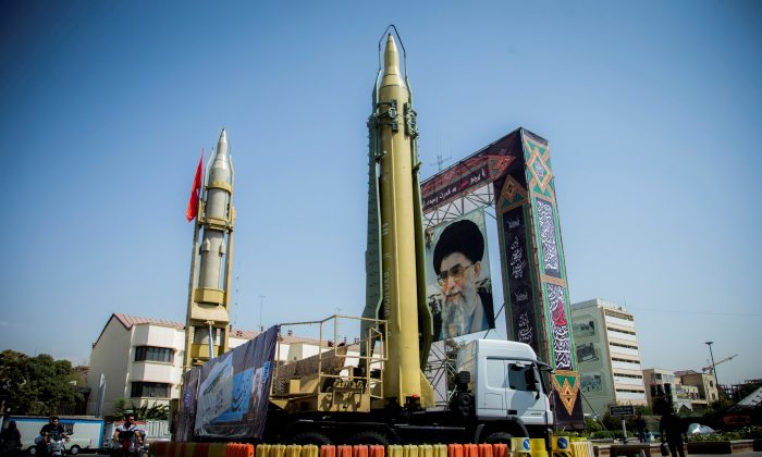 A display featuring missiles and a portrait of Iran's Supreme Leader Ayatollah Ali Khamenei is seen at Baharestan Square in Tehran, Iran September 27, 2017. (Nazanin Tabatabaee Yazdi/TIMA via Reuters)