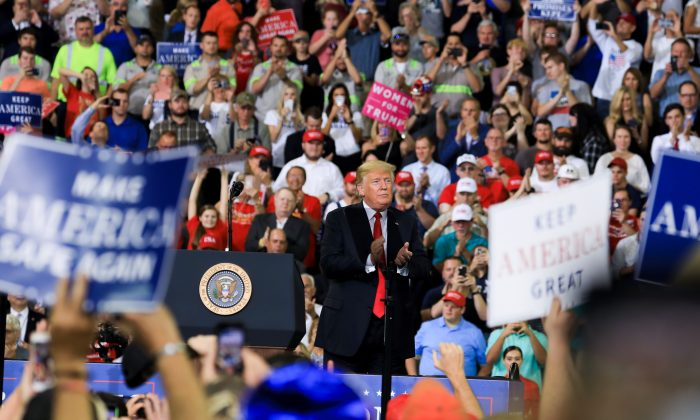 President Donald Trump at his Make America Great Again rally in Evansville, Ind., on Aug. 30, 2018. (Charlotte Cuthbertson/The Epoch Times)