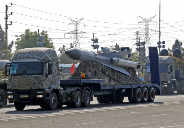 An Iranian truck carries missiles