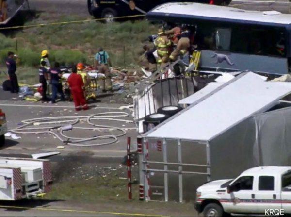 Emergency crews at New Mexico bus crash site