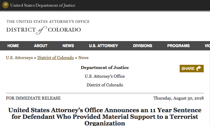 A Colorado man convicted of providing material support to a U.S.-designated terrorist group in his native Uzbekistan was sentenced on Aug. 30, 2018 to 11 years in prison, the U.S. Attorney's Office in Denver said.(Screenshot/justice.gov)