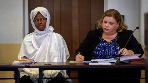 Defendant Subhannah Wahhaj sits next to her defense attorney Megan Mitsunaga during a hearing in Taos County District Court in Taos County, New Mexico