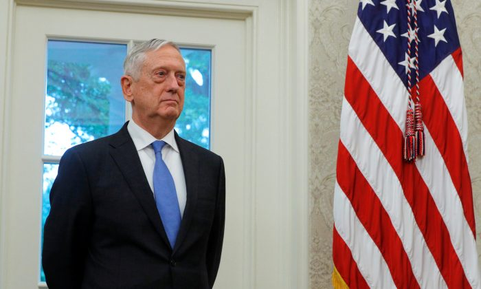 U.S. Secretary of Defense Jim Mattis attends the swearing in ceremony for new Secretary of Veterans Affairs Robert Wilkie in the Oval Office of the White House in Washington, on July 30, 2018. (Brian Snyder/Reuters)