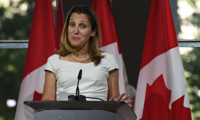 Canadian Foreign Minister Chrystia Freeland speaks at a press conference at the Embassy of Canada in Washington on Aug. 31, 2018.  (ERIC BARADAT/AFP/Getty Images)