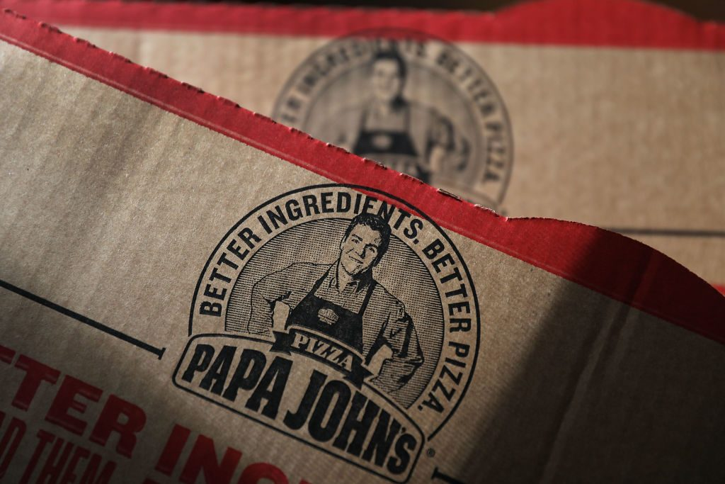A Papa John's pizza box in Miami, Florida on July 11, 2018. (Joe Raedle/Getty Images)