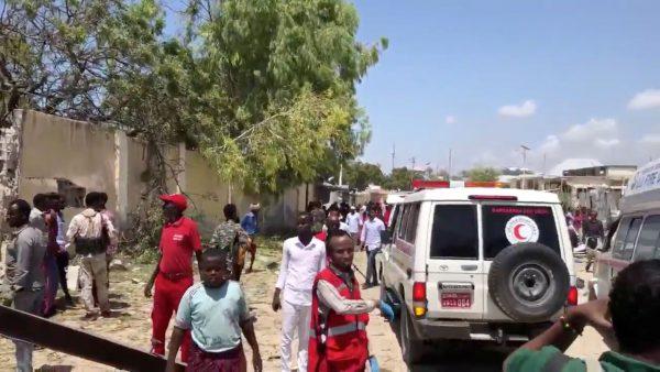 The site of a suicide bomb blast in Mogadishu Somalia