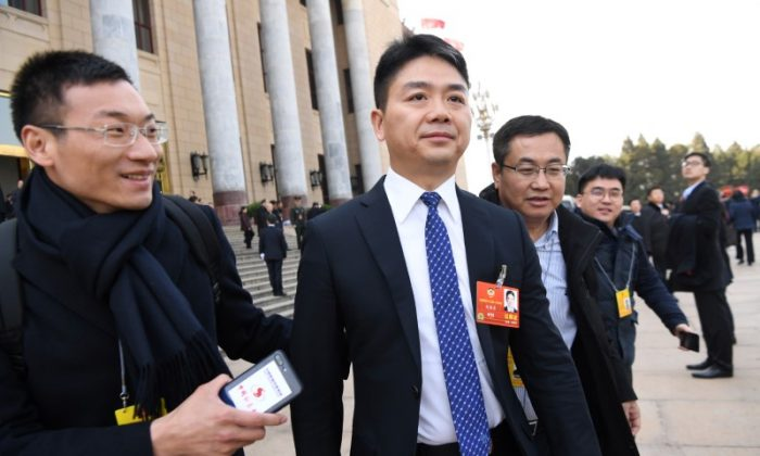 Richard Liu, founder and chief executive officer of e-commerce company JD.com, leaves the Great Hall of the People after the opening session of the National People's Congress (NPC) in Beijing, China on March 5, 2018.  (Stringer/Reuters)
