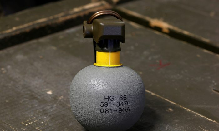 An HG 85 hand grenade is displayed at the Waffenplatz Zuerich-Reppischtal base of the Swiss Army in Birmensdorf, Switzerland on Jan. 19, 2017. (Reuters/Arnd Wiegmann/File Photo)