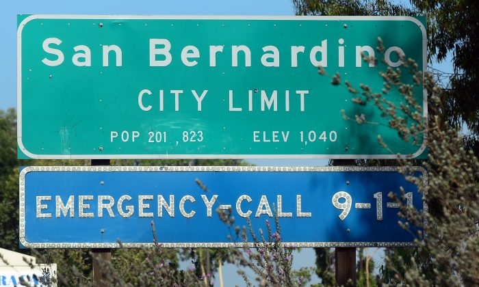 A highway sign for the city of San Bernardino, Calif. on July 17, 2012. (Frederic J. Brown/AFP/GettyImages)