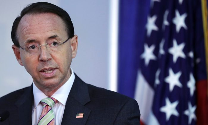 U.S. Deputy Attorney General Rod Rosenstein on Aug. 30, 2018 in Washington. In an Aug. 27 opinion piece, Rosenstein warned that employees of Safe Injection Sites would be breaking the law and subject to prosecution. (Chip Somodevilla/Getty Images)