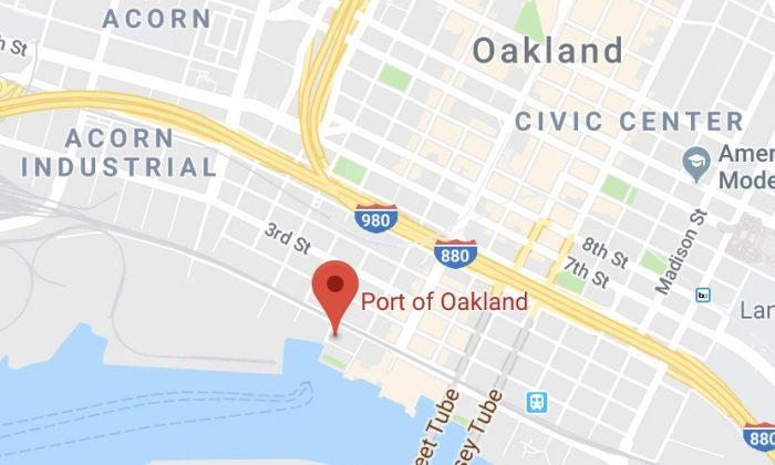 Port of Oakland. 530 Water St, Oakland, CA 94607. (Map data @2018 Google)