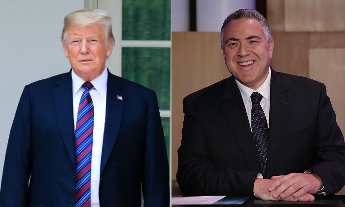 President Donald Trump in Washington on Aug. 27, 2018. (Samira Bouaou/The Epoch Times) R: Joe Hockey in Canberra on May 13, 2015. (Stefan Postles/Getty Images)