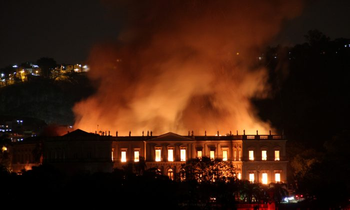 A fire blazes at the National Museum of Brazil in Rio de Janeiro, Brazil on Sept. 2, 2018 in this picture obtained from social media. (Tania Dominici/Reuters)