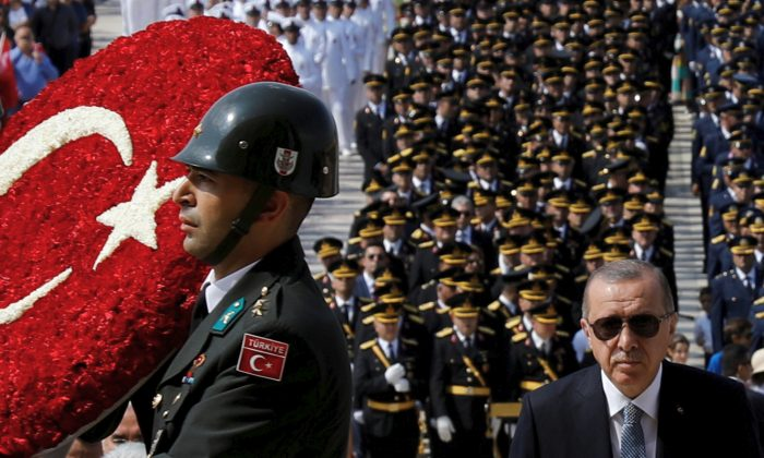 Turkish President Recep Tayyip Erdogan attends a ceremony marking the 96th anniversary of Victory Day at the mausoleum of Mustafa Kemal Ataturk in Ankara, on Aug. 30, 2018. (Reuters/Umit Bektas/File Photo)