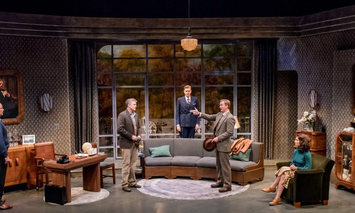 "(L–R) Larry Bull, Chris Henry Coffey, Ted Deasy, Roderick Hill, and Janie Brookshire as they appear in Lillian Hellman's ""Days to Come."" (Todd Cerveris)"