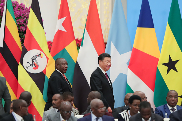 Chinese President Xi Jinping (R) with South African President Cyril Ramaphosa (L) attend the 2018 Beijing Summit Of The Forum On China-Africa Cooperation - Round Table Conference at at the Great Hall of the People in Beijing on Sept. 4, 2018 in Beijing, China.  (Lintao Zhang/Getty Images)