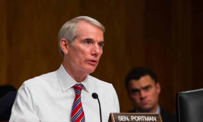 Sen. Rob Portman (R-Ohio) at a Senate hearing in Washington, on Sept. 27, 2017. (Samira Bouaou/The Epoch Times)