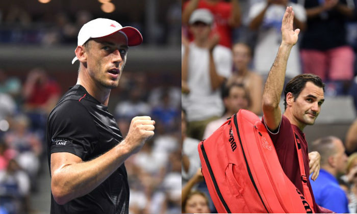 John Millman of Australia celebrates after a win in the fourth set over Roger Federer of Switzerland in a round of 16 match on day eight of the 2018 U.S. Open tennis tournament at USTA Billie Jean King National Tennis Center, on Sep. 3, 2018. (Danielle Parhizkaran-USA Today Sports/Reuters)