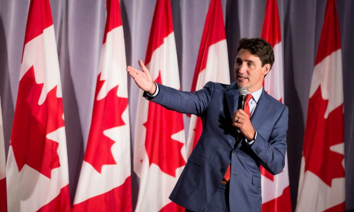 Prime Minister Justin Trudeau addresses supporters at a Liberal Party fundraiser in Surrey, B.C., on Sept. 4, 2018. (The Canadian Press/Darryl Dyck)