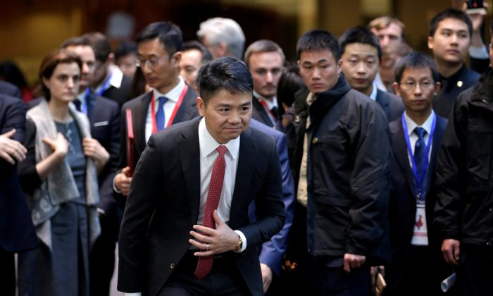 Richard Liu, CEO and founder of JD.com, at a France-Chinese forum on artificial intelligence at SOHO 3Q in Beijing on Jan. 9, 2018. (Reuters/Jason Lee)