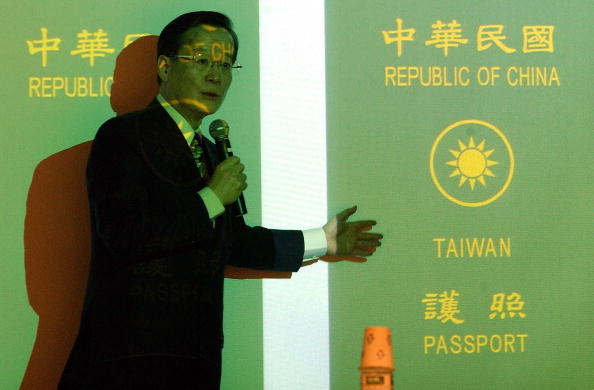 Taiwan Foreign Minister Eugene Chien speaks at a press conference to unveil a new version of Taiwan's passport in Taipei, on June 12, 2003. (Sam Yeh/AFP/Getty Images)