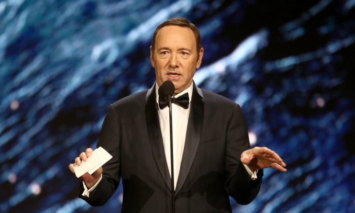 Kevin Spacey onstage to present Britannia Award for Excellence in Television at the 2017 AMD British Academy Britannia Awards in Beverly Hills, Calif. on Oct. 27, 2017. (Photo by Frederick M. Brown/Getty Images)