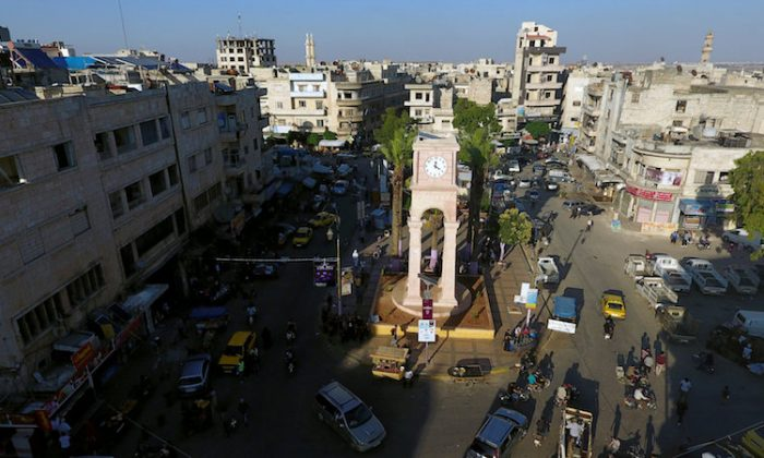 FILE PHOTO: A general view taken with a drone shows the Clock Tower of the rebel-held Idlib city, Syria June 8, 2017. (Reuters/Ammar Abdullah/File Photo)