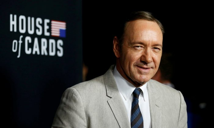 """Cast member Kevin Spacey poses at the premiere for the second season of the television series """"House of Cards"""" at the Directors Guild of America in Los Angeles, California on Feb.13, 2014. (Mario Anzuoni/File Photo/Reuters)"""