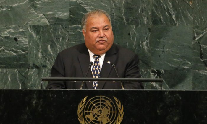 Nauru President Baron Divavesi Waqa at the 72nd United Nations General Assembly at the U.N. headquarters in New York City, on September 20, 2017. (REUTERS/Lucas Jackson)