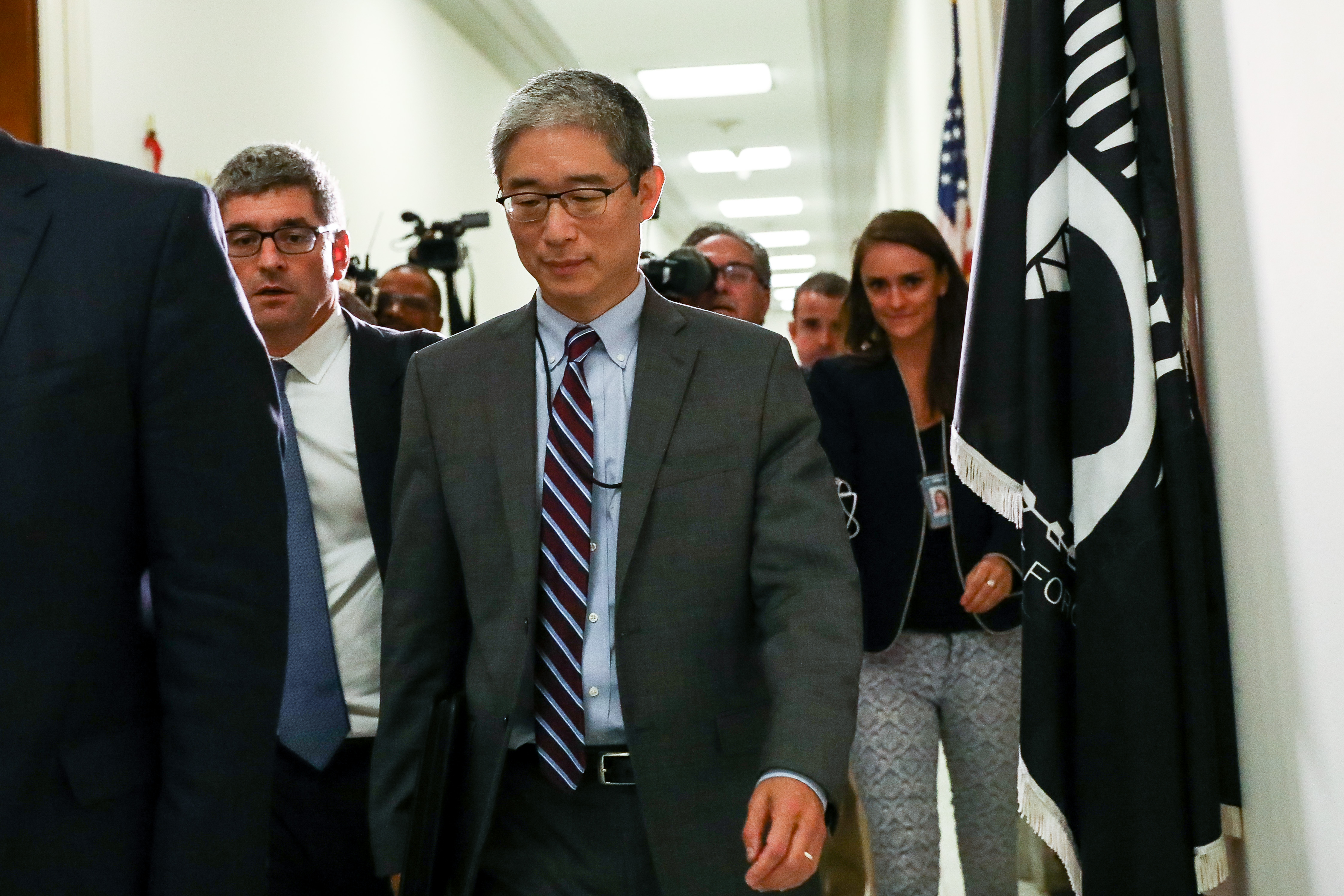 Bruce Ohr (C), a Justice Department official demoted from the posts ofassociate deputy attorney general and director of the Organized Crime Drug Enforcement Task Force, leaves for a lunch break from a closed hearing with the House Judiciary and House Oversight and Government Reform committees on Capitol Hill in Washington, on Aug. 28, 2018.