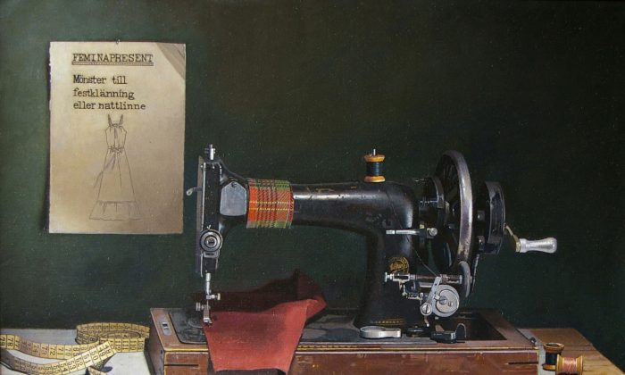 """""""Sewing machine,"""" 2008, by Atle Skudal. Oil on canvas, 26 inches by 13.4 inches. (Courtesy of Atle Skudal)"""