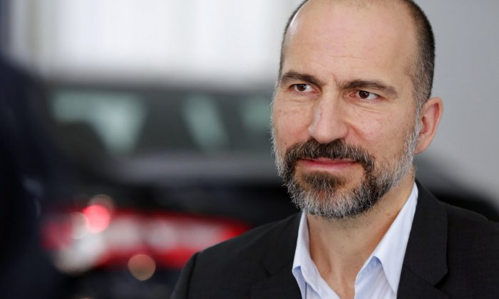Uber CEO Dara Khosrowshahi listens during an interview after the company's unveiling of the new features in New York, on Sept. 5, 2018.  (Richard Drew/AP)