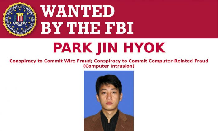 This wanted poster released by the FBI shows a photo of Park Jin Hyok. Hyok, a computer programmer accused of working at the behest of the North Korean government, who was charged on Sept. 6, 2018. (FBI via AP)