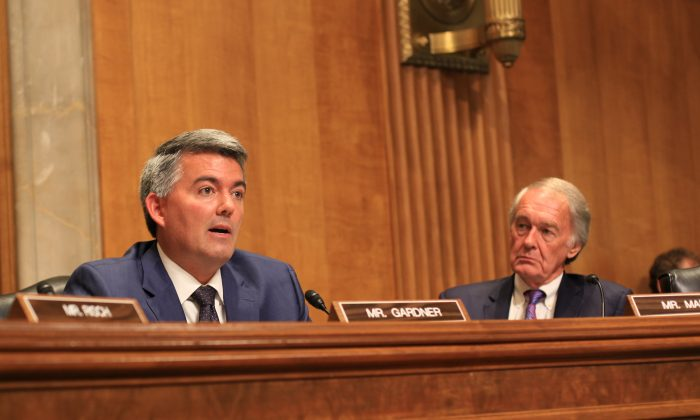 Sen. Corey Gardner (R-Colo.) speaks at a Senate hearing on the military challenge posed by China. (Jennifer Zeng/Epoch Times)