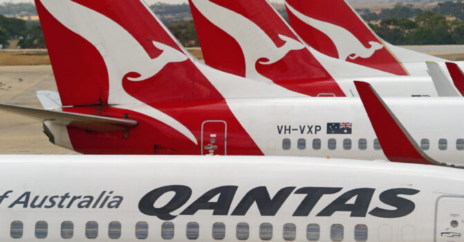 Qantas airplanes wait at Melbourne Tullamarine Airport