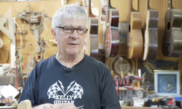 Rick Kelly in his workshop at Carmine Street Guitars. (Shenghua Sung)