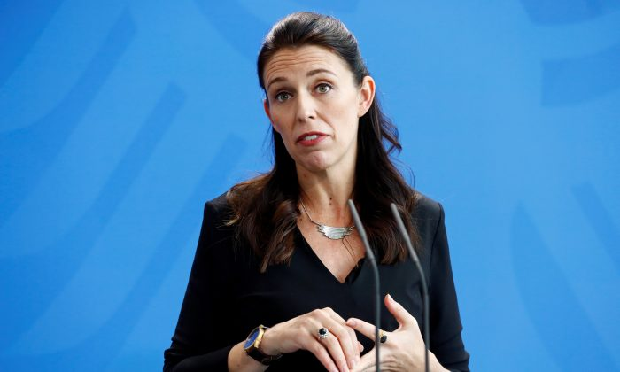 New Zealand Prime Minister Jacinda Ardern reacts during a press conference in Berlin, Germany on April 17, 2018. (Hannibal Hanschke/Reuters)