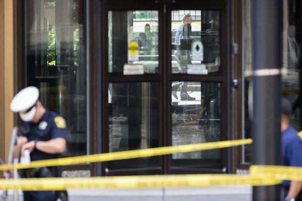 The scene of a shooting in Cincinnati