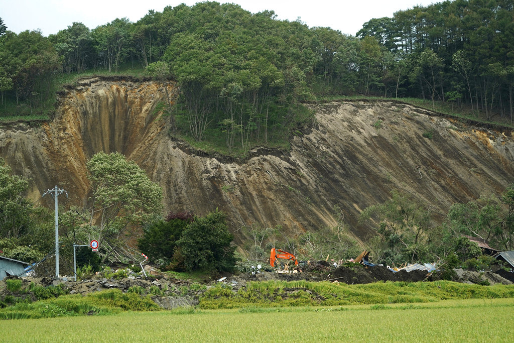 Landslike from earthquake Hokkaido Japan