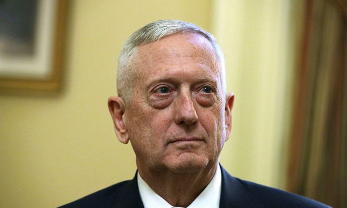 File photo: U.S. Defense Secretary Jim Mattis, on Dec 7, 2016 at the Capitol in Washington, DC. (Alex Wong/Getty Images)
