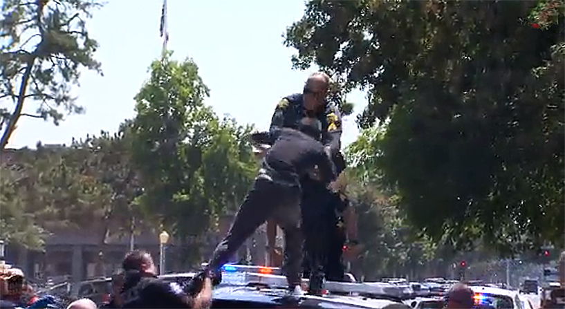 Police eventually tackled Lopez
