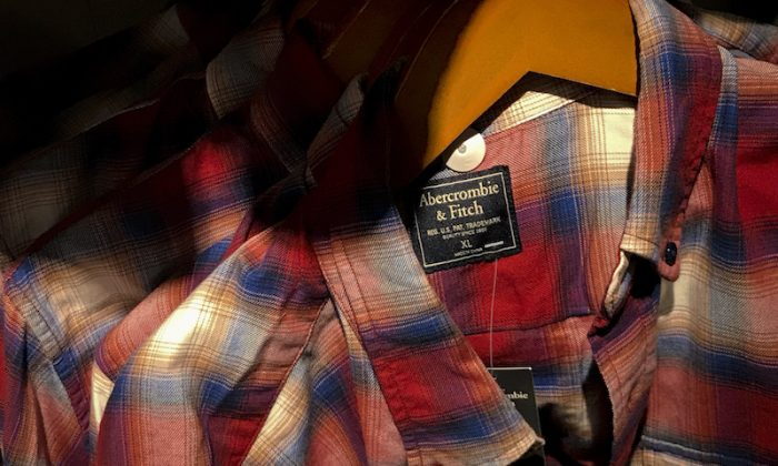 Clothing from American brand Abercrombie & Fitch, which was made in China, is seen for sale at a store in Beijing on  Sept. 7, 2018. (Andy Wong/ AP)